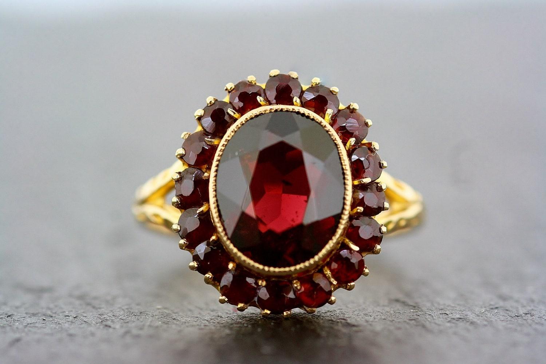 Garnet Silver Ring Vintage