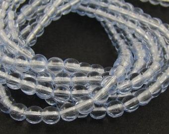 Light Sapphire Blue 4mm  Round Czech Glass  Beads 100pc #783