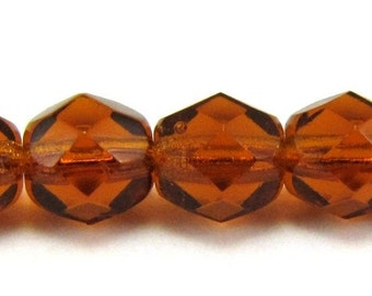 Dark Topaz 6mm Facet Round Czech Glass Fire Polished Beads 25pc #788