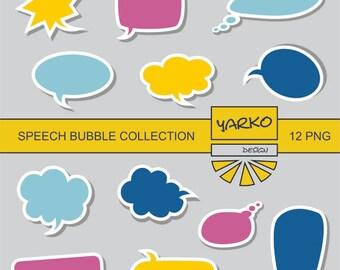 Digital Clip Art - Speech Bubbles Digital Frames -Transparent Background, Speech Balloons, Speech Frames - Instant Download - YDC073