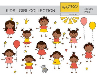 Cute Afro Kids Digital Clip Art, Baby Girl Digital Clip Art, African American Kids Digital Clip Art, Instant Download - YDC110