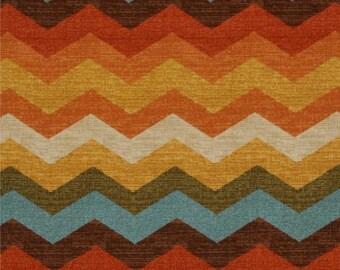 SALE - Ships Same Day Multi Color Chevron - Waverly Panama Wave Adobe - Fabric by the yard - Zig zag