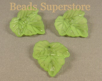 23 mm x 24 mm Light Green Lucite Leaf Bead / Pendant - 10 pcs