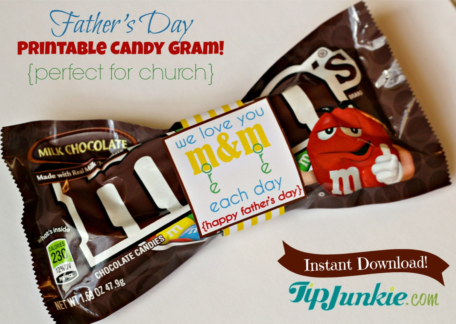 M&M Candy Bow Tie for Father's Day Printable Wrapper