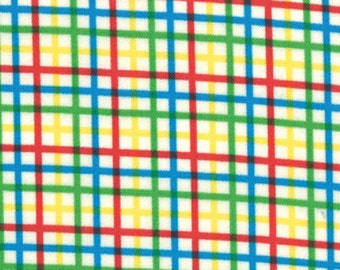 SUPER CLEARANCE! One Yard Bungle Jungle - Zoo Checks in Multi Primary Colors - Cotton Fabric - by Tim and Beck for Moda Fabrics (W218)