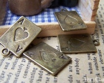 10 pcs of Antique Bronze Ace of Spade Poker Card Charms 12x21mm A492