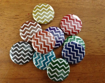 COLORFUL CHEVRON Pattern-1 inch pinback buttons- set of 10, Planner Buttons, Planner