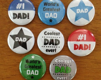 Father's Day Buttons Set of 8 Pinback Buttons