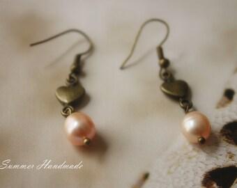 Fresh Water Pearl and copper heart dangle earrings