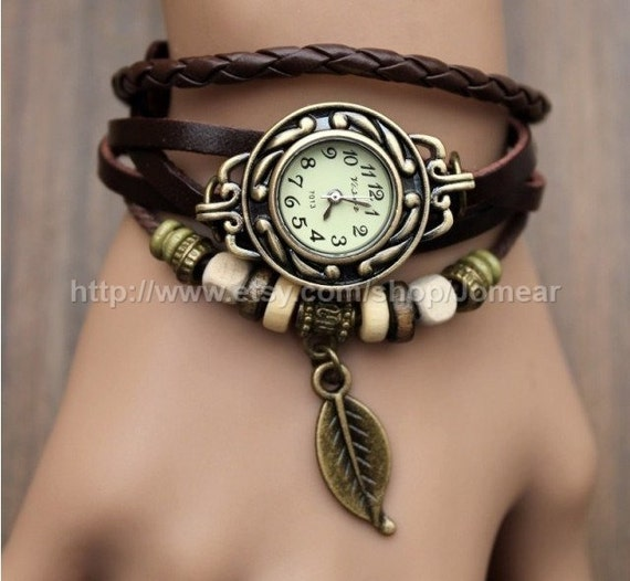 La main Style Vintage cuir bande Montres femme fille Lady Quartz Wrist Watch brun foncé