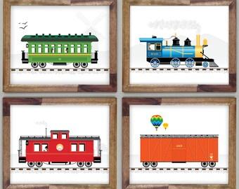 Four Train Prints 10 x 12 Boys Room Art