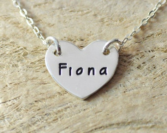 925 Sterling Silver necklace  heart pendent heart necklace any name available