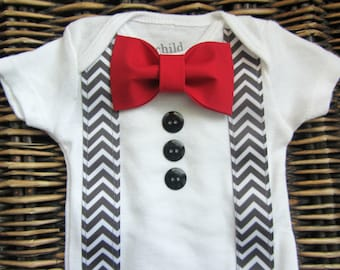 Baby Boy Clothes - Baby Tuxedo Bodysuit - Red Bow Tie Grey Chevron Suspenders - Coming Home Outfit - Baby Boy Valentines Day  Outfit