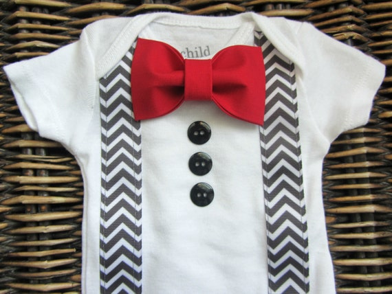 Baby Boy Clothes - Baby Tuxedo Bodysuit - Red Bow Tie With Grey Chevron Suspenders - Coming Home Outfit - Boys Valentines Day Outfit