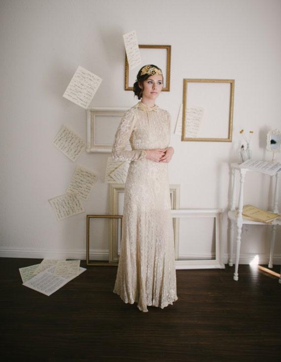 Vintage 1930s Velvet Floral Wedding Dress / Size XS Small / Gentle Fawn Wedding Dress