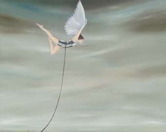 """Giclee Small Print of original painting """"Fly Anyway"""", woman with wings flying through sky despite anvil, #makeforgood"""