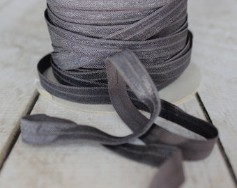 Charcoal Fold Over Elastic - Elastic For Baby Headbands and Hair Ties - 5 Yards of 3/8 inch FOE
