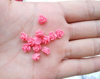 100pcs 8mm Resin Rose Flower Rose red Rose Flowers Cabochons Cameo Base Setting