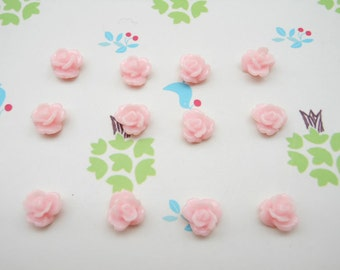 100pcs 8mm Resin Rose Flower-- Pink Rose Flowers Cabochons Cameo Base Setting