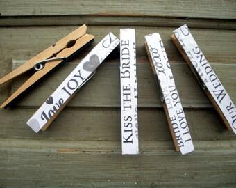 Clothespin magnet set, wedding clothespins, bridal, decorative clothespins, fancy clothespins, scrapbook paper clothespins, set of 5