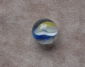 Glass Marble, clear with yellow, blue and white streaks