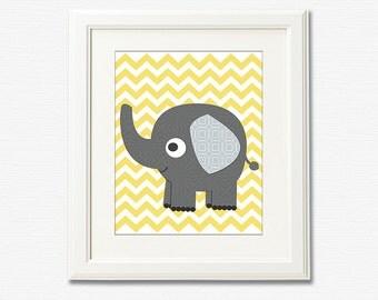 Grey elephant nursery Art Print - 8x10 - Children wall art, Baby Room Decor, nursery art, yellow and grey, chevron  -  UNFRAMED