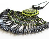 Bead Embroidered Pendant in Black and Lime Green