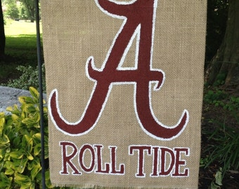Alabama Roll Tide Burlap Garden Flag