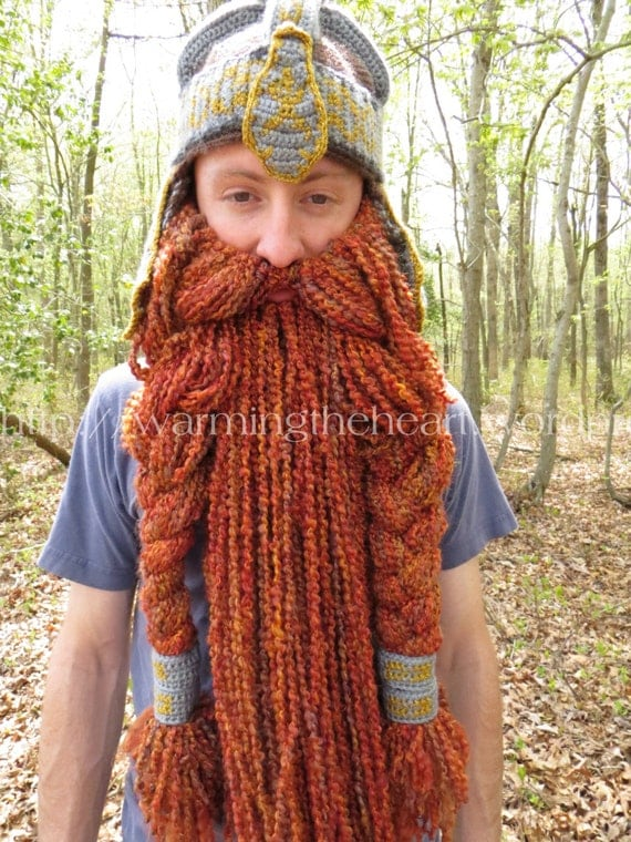 Crochet Dwarf Beard Hat Pattern : Instant Download Gimli Inspired Beard ONLY Crochet Pattern