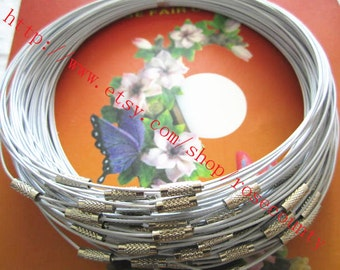 whlesale 30pcs 18 inch 1mm white cover stainless wire choker necklace with lscrew clasps