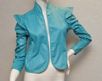 Vintage Womens Turquoise Cotton Jacket Blazer 1970s or 1980s 70s 80s Ruffled Shoulder