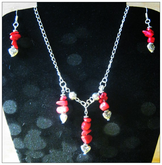 Handmade Silver Jewelry Set with Red Coral  & Hearts by IreneDesign2011