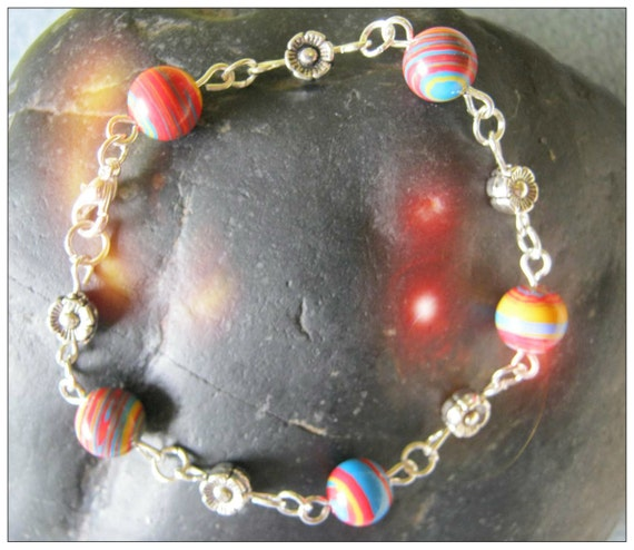 Handmade Silver Bracelet with Striped Gemstones & Flowers by IreneDesign2011