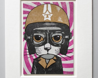 Helmet Cat Linocut with Passe Partout