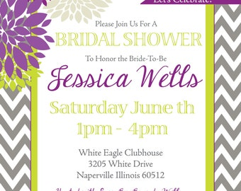 Bridal Shower Invitation ( Digital Print File)