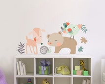 Nursery Decor 4 Wall Fabric Decals Cute Animal Set Deer Bear Snail and Bird Reusable Safe Children Bedroom Baby Neutral colors Girl Boy