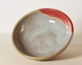 Ceramic Bowl - Red with Caramel/Blue - Mudamorphosis