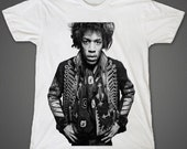 James Marshall Hendrix Jimi Hendrix Electric Guitarist Band of Gypsys Hell and Angels White Unisex T-Shirt S to XXL
