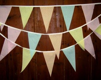 5metres Petite Polka Dot Bunting Banner in Delicate Shades of Peach Pink Yellow Green,Blue & Lilac