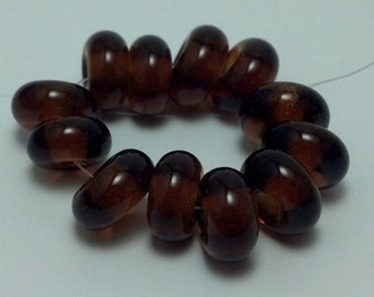 Transparent Brown - Set of 12 Handmade Spacer Beads