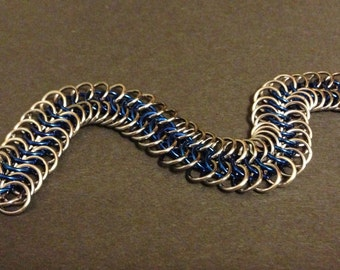 Blue and Ice European 6 in 1 Chainmaille Bracelet