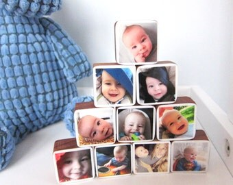 Handmade Personalized Baby Photo Wood Blocks, Mother's day great gift for pregnant mom-to-be or nursery decor, Set of 10