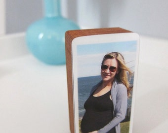 Custom Handmade Pregnancy or Baby Photo Wooden Blocks perfect for baby showers, newborn gifts, nursery and kids' rooms