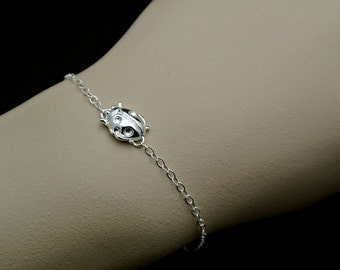 All Sterling Silver - Lady Bug Bracelet, Celebrity inspired bracelet, trendy bracelet