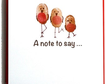 8 x Fabulous Fingerprint Rockin' Robins 'A note to say...' notecards with matching Red envelopes