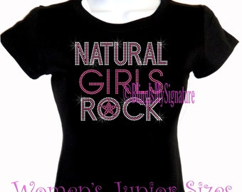 Natural Girls Rock - Neon PINK - Iron on Rhinestone Afro T-Shirt - Bling Hot Fix Natural Hair T Shirt Style Stylist Transfer Afro Shirt Top