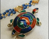 Turtle Pin or Pendant Vintage Jeweled Plique a Jour 1970s Jewelry (16584)