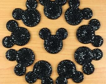 Lot 10pcs Black Mickey Mouse Shape Cabochons Resin Flatbacks Scrapbooking Girl Hair Bow Center Crafts Making Embellishments DIY