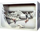 DIY Paper diorama  Hiroshige Ando  -evening snow,paper craft, paper art, japanese art, diy model
