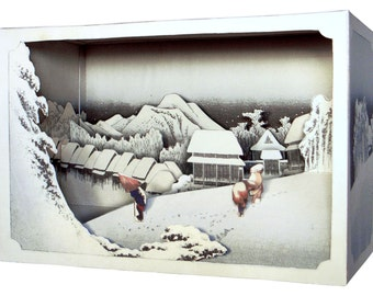 DIY Paper diorama  Hiroshige Ando  -evening snow,paper craft, paper art, japanese art, diy model